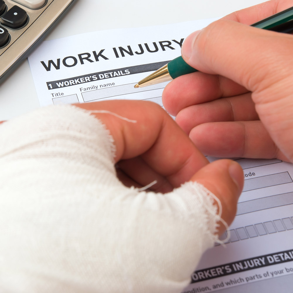 A work injury form being filled in