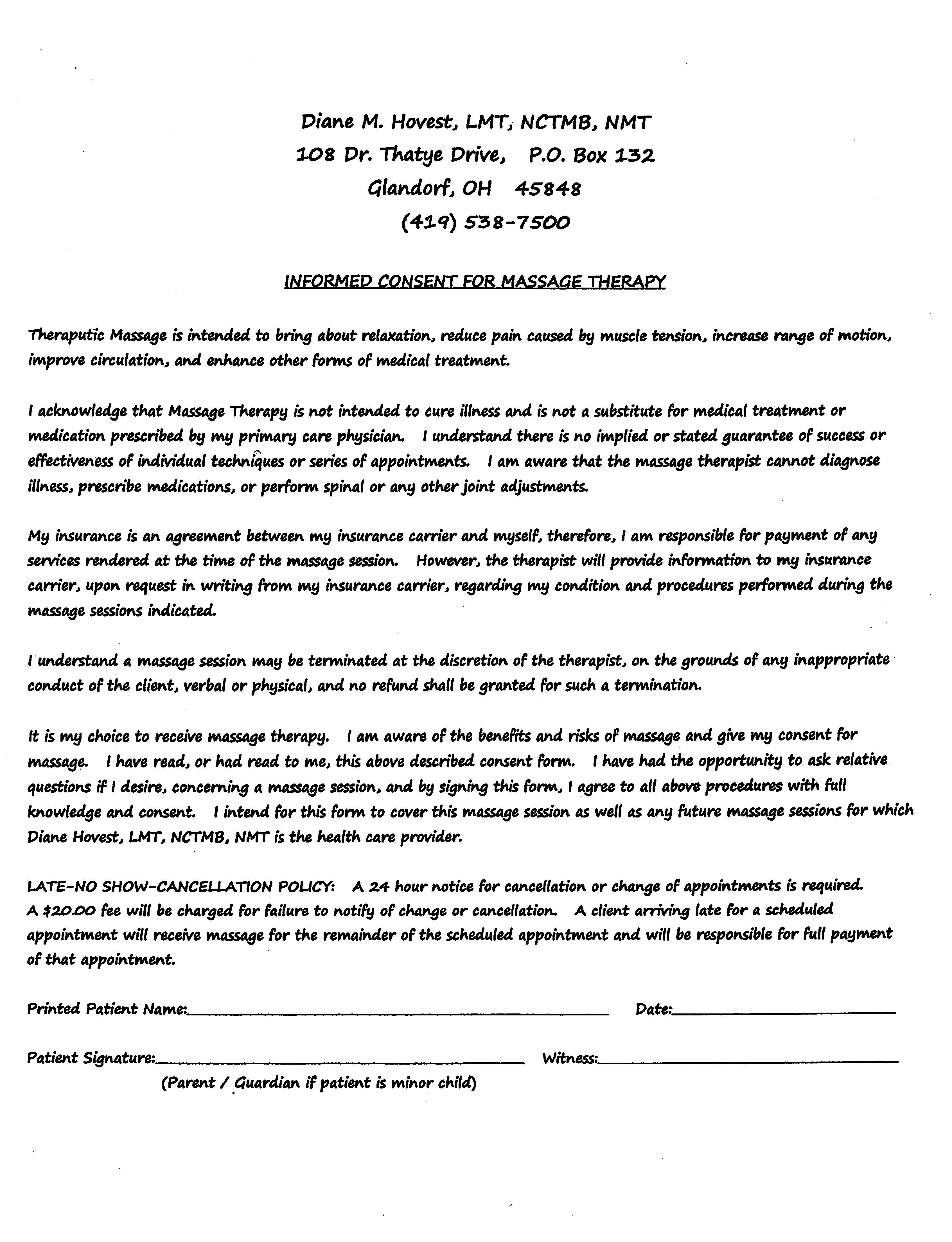 Lammers Chiropractic Care New Massage Patient Form