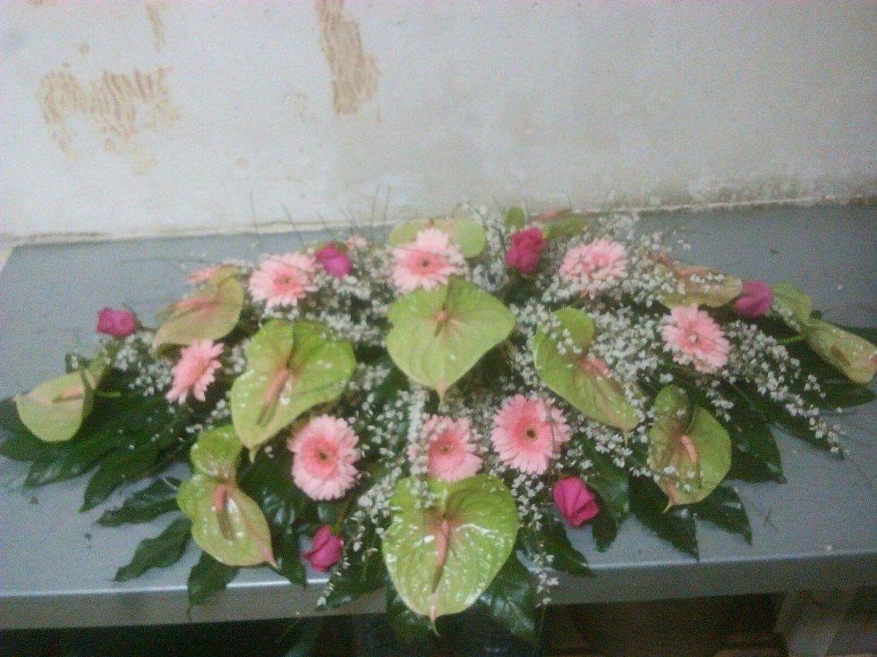 foglie verdi fiori rosa viola