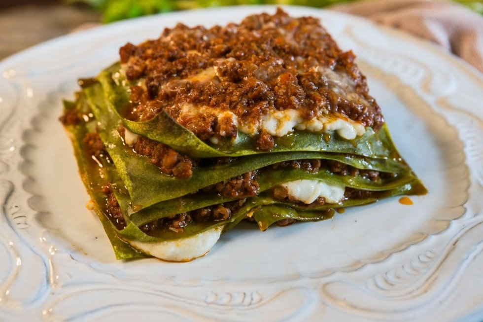lasagne alla Bolognese with green pasta