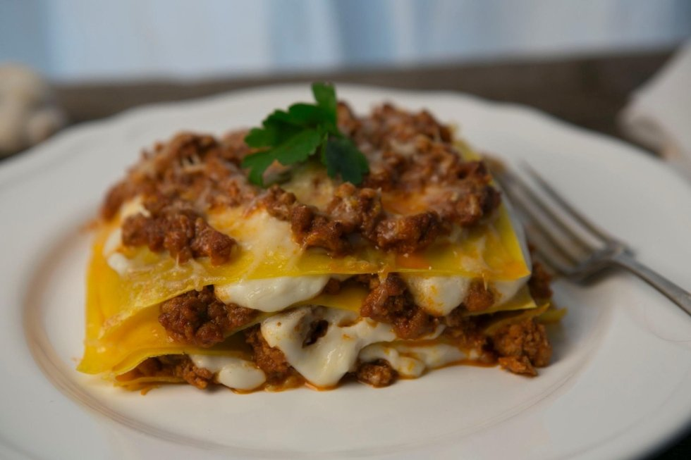 lasagna with yellow pasta