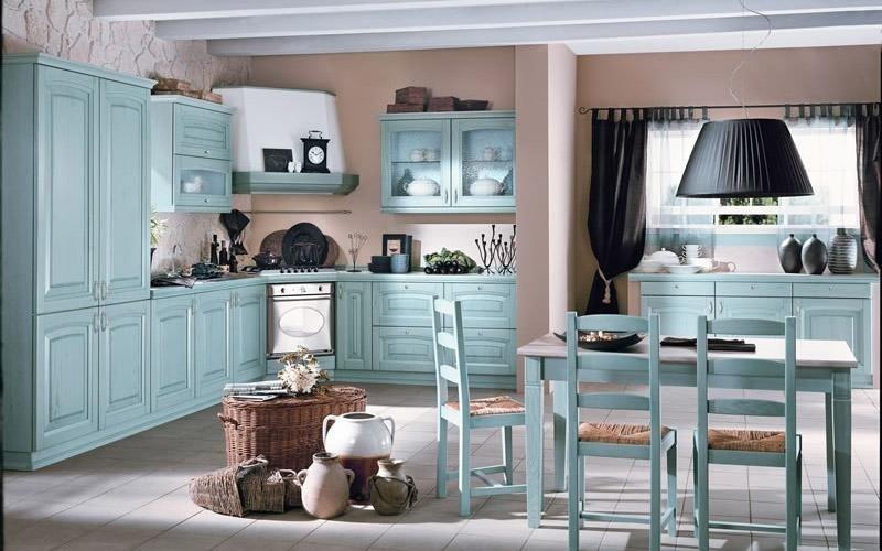 Cucina modello Ducale colore azzurro