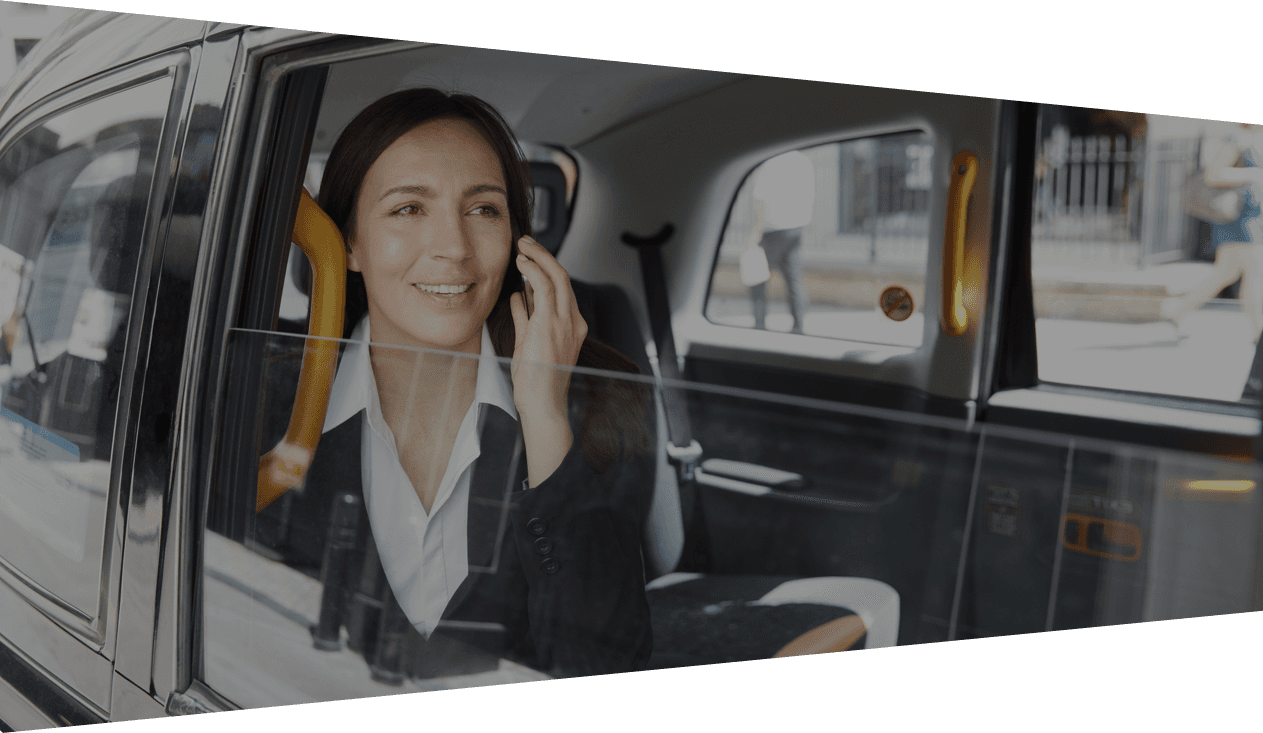 businesswoman travelling in cab