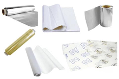 rotoli alluminio, pellicola, carta forno