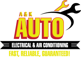 a k auto electrical and air conditioning business logo