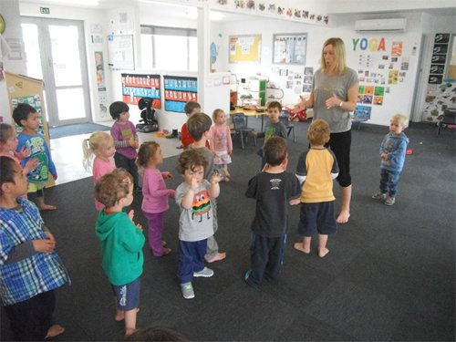 Teacher engaging herself with kids