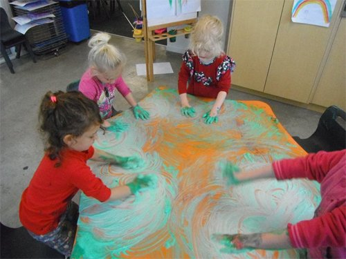 Kids having fun with colours