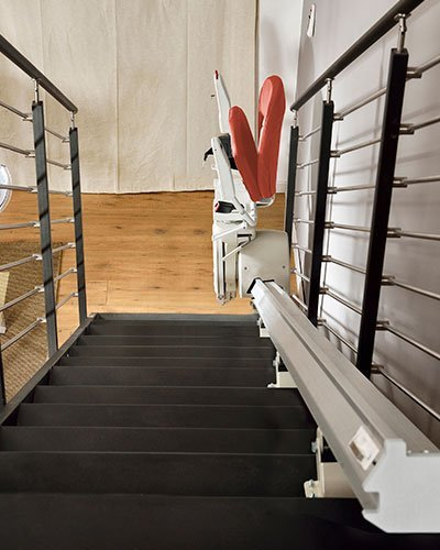 staircase with and installed mobility chair