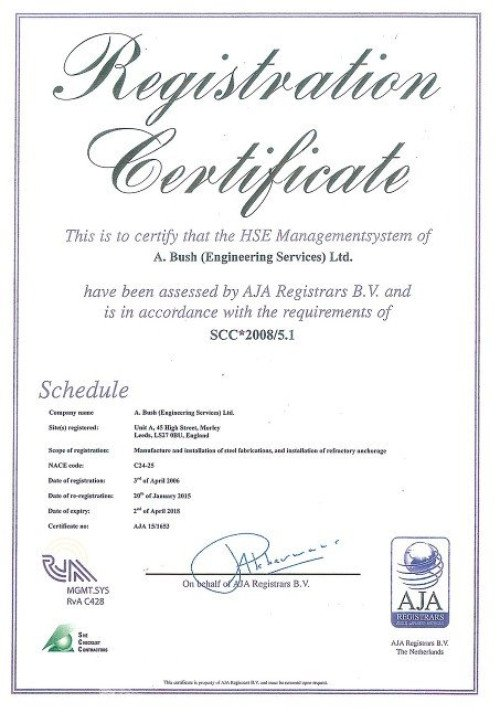 Health, Safety & Environmental Certificate