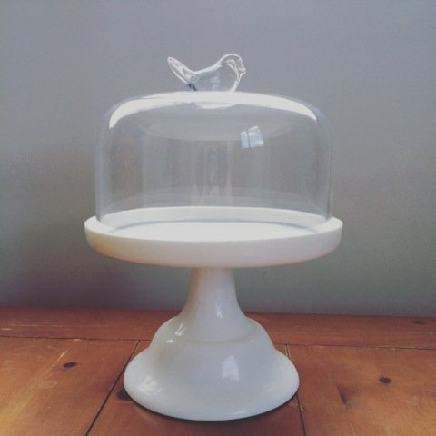Cake Stand White & Glass Dome Lid