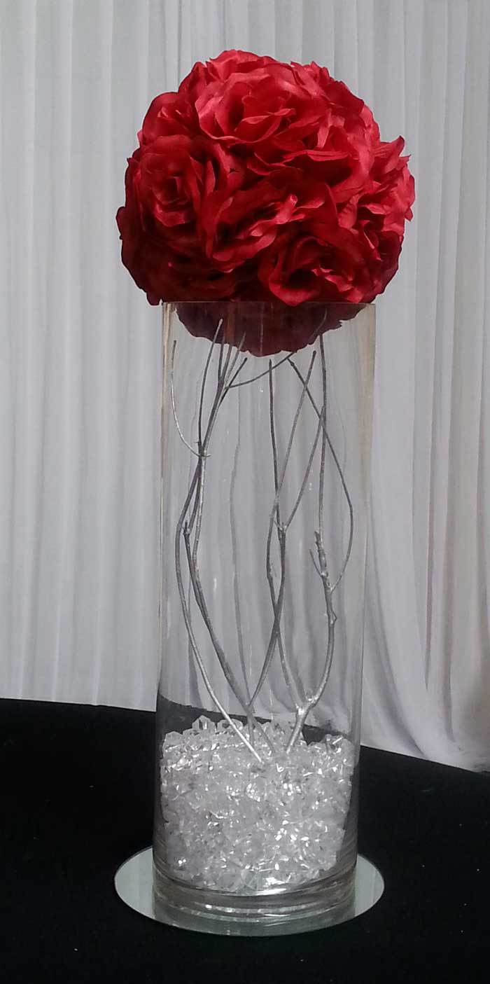 Rose ball and silver branch
