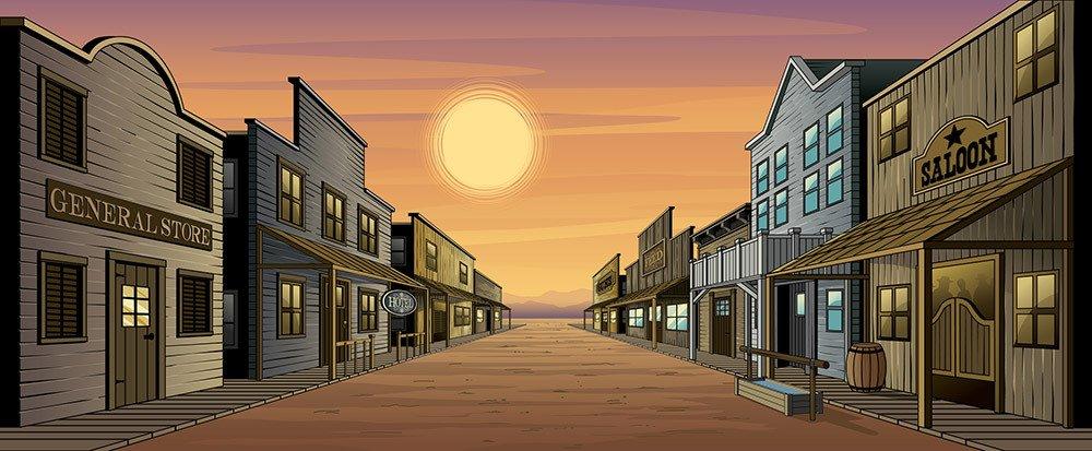Backdrop Western town scene