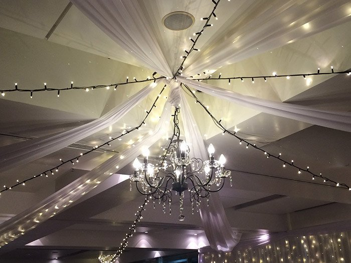Ceiling draping and lights