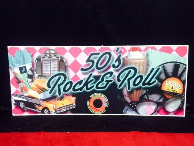 Prop 50s rock n roll sign