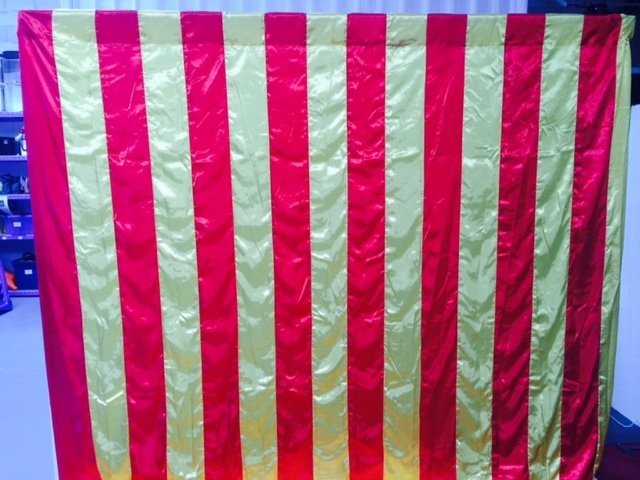 View of a striped wall drape