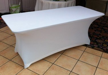 White lycra table cover