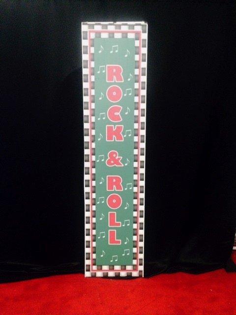 Prop 50s rock & roll tall sign green