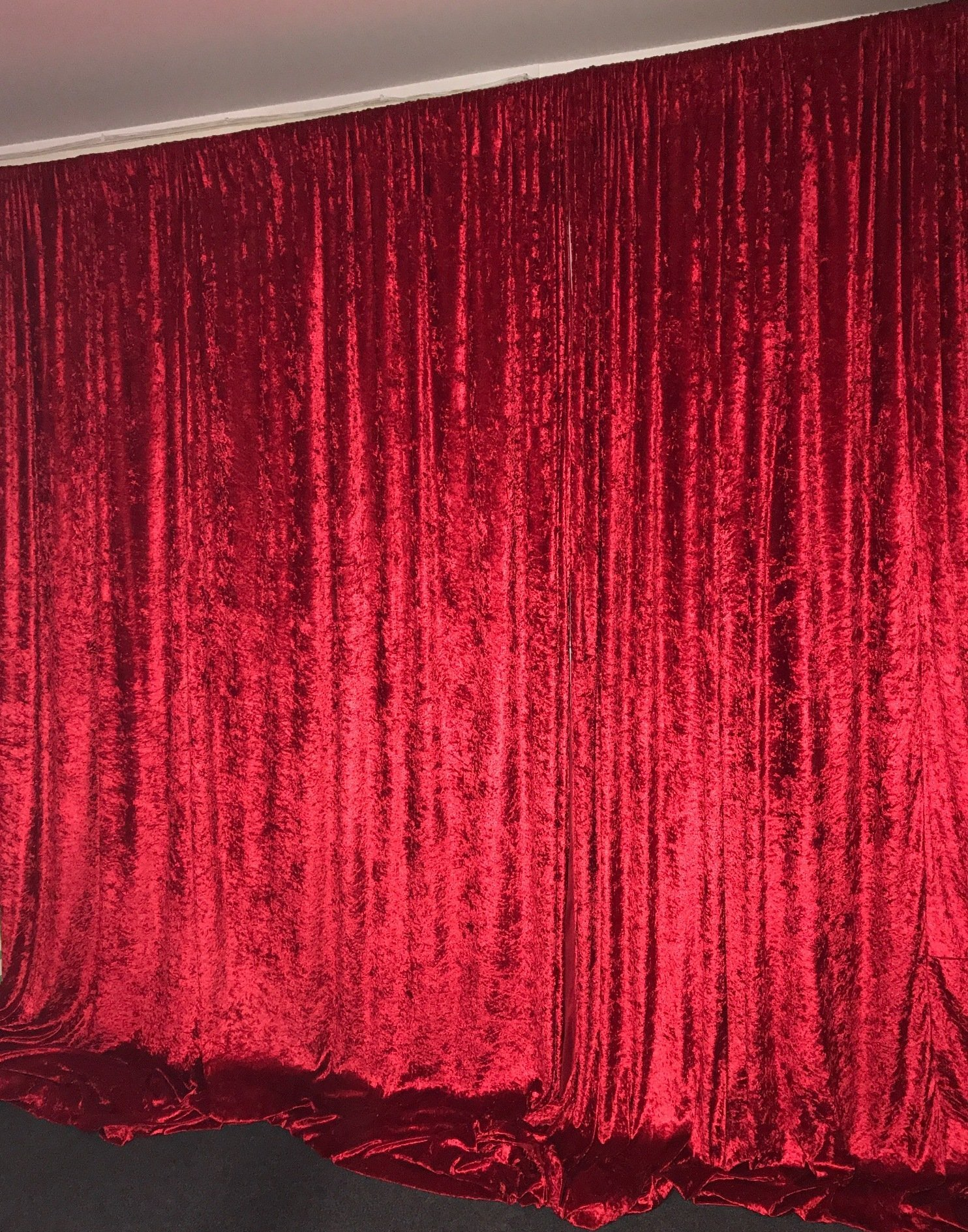 Red color wall drape