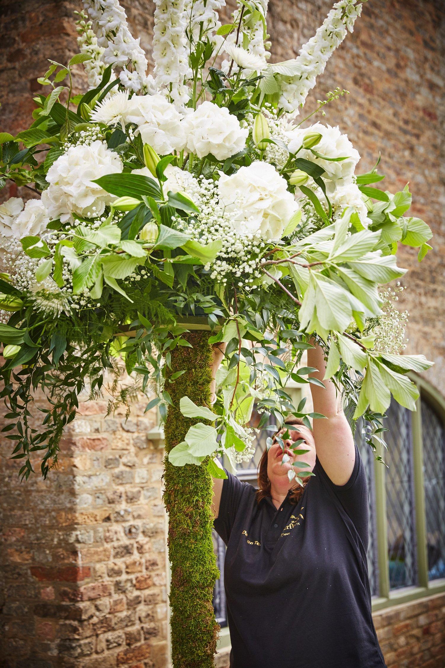 a florist decorating