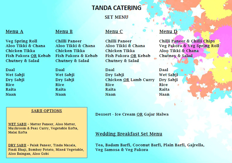 Tanda Catering Set Menu