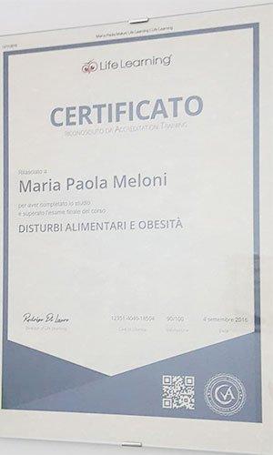 un certificato a nome Maria Paola Meloni sui disturbi alimentari e obesità