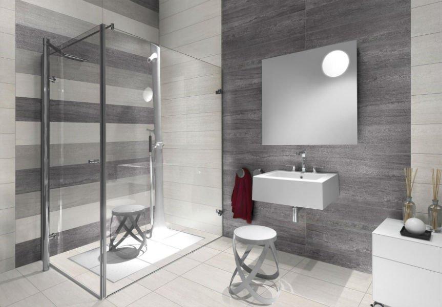un bagno moderno con un box doccia e un lavabo