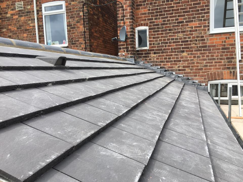 closer view of domestic slate roofing