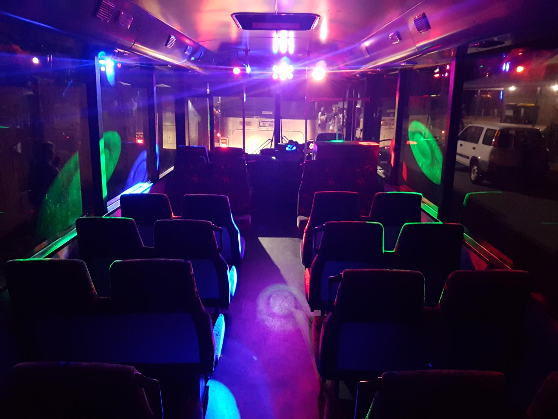 black and silver party bus