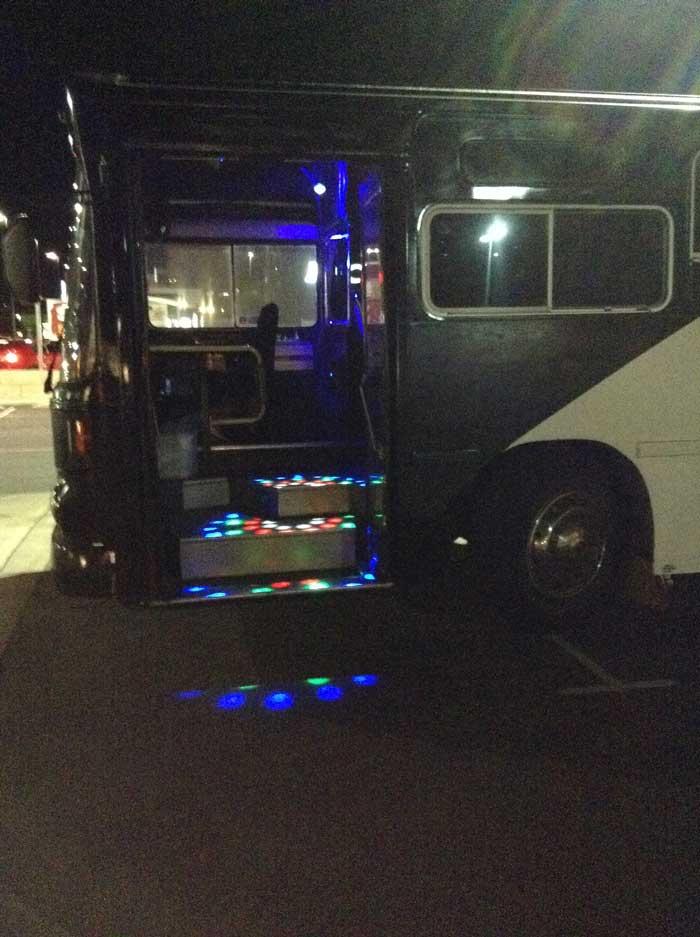 black party bus entrance