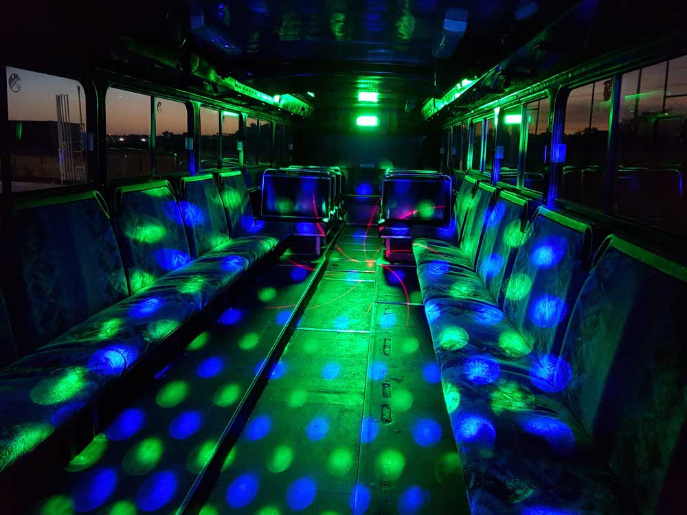 black party bus lights
