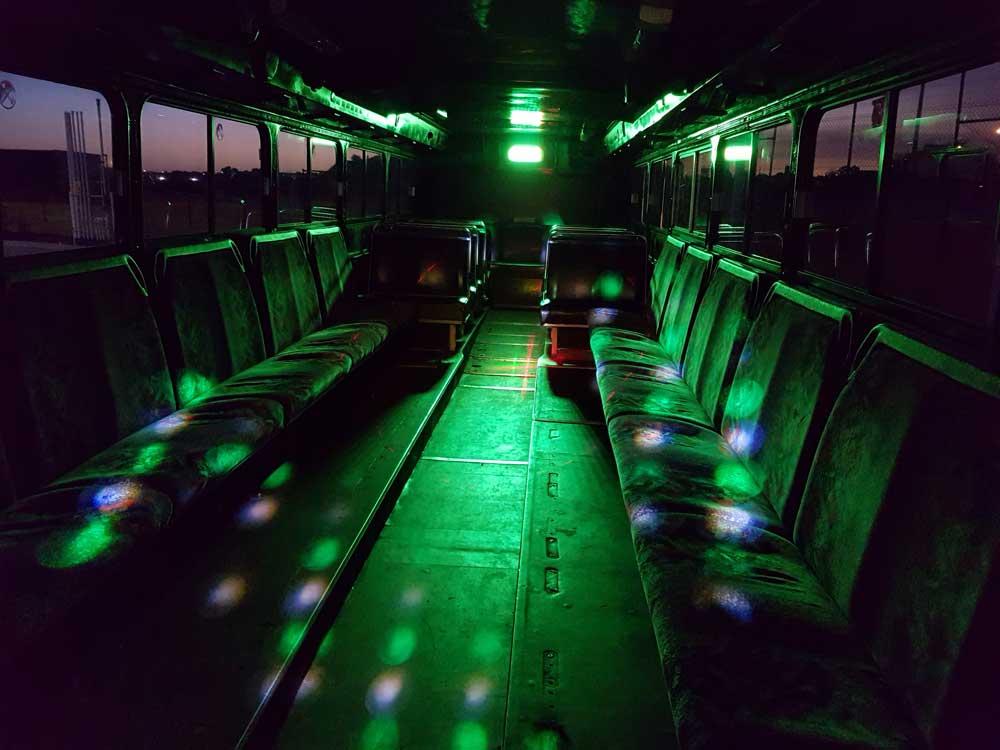 black party bus seat aisle
