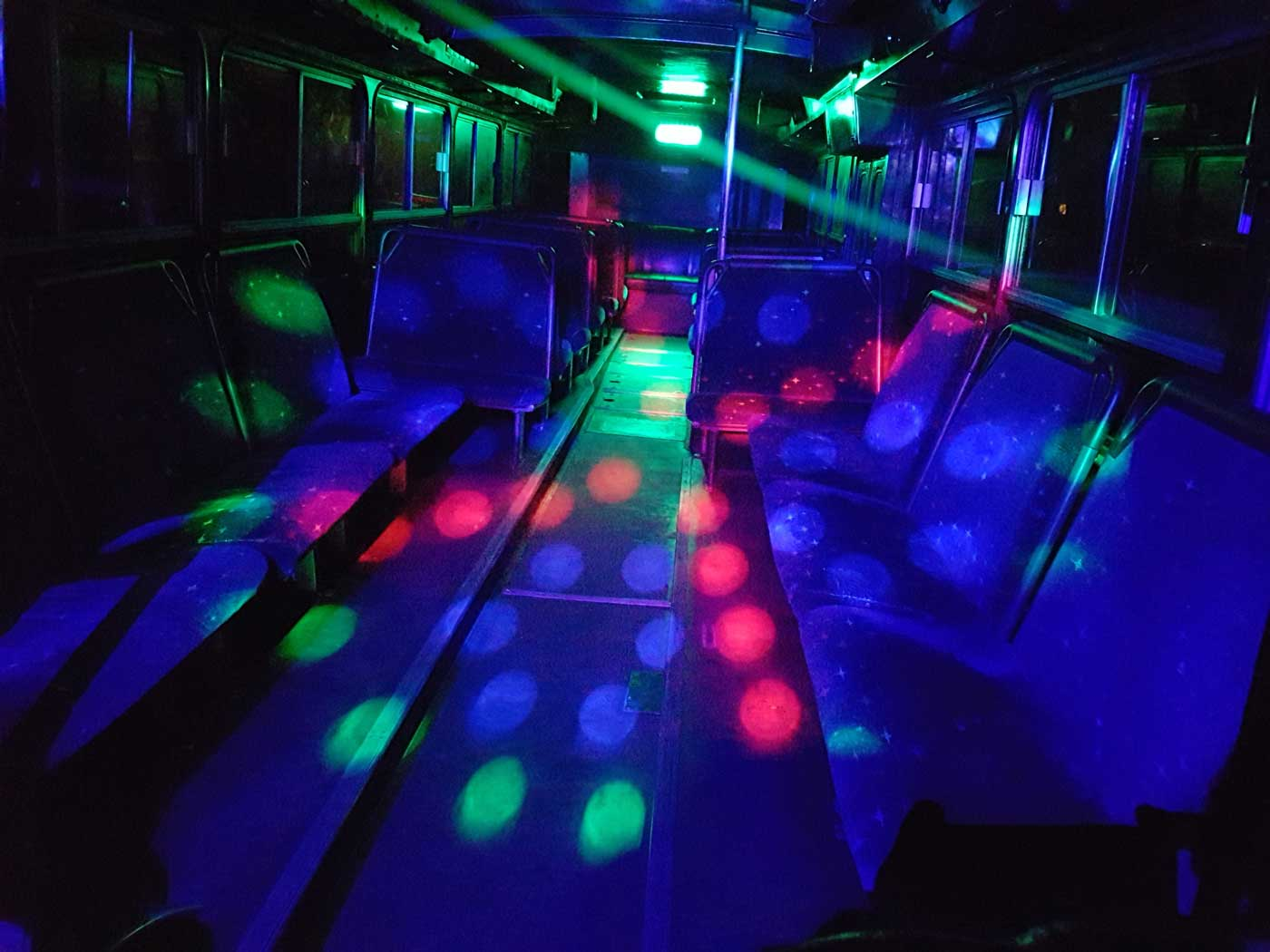 green and red party bus lights