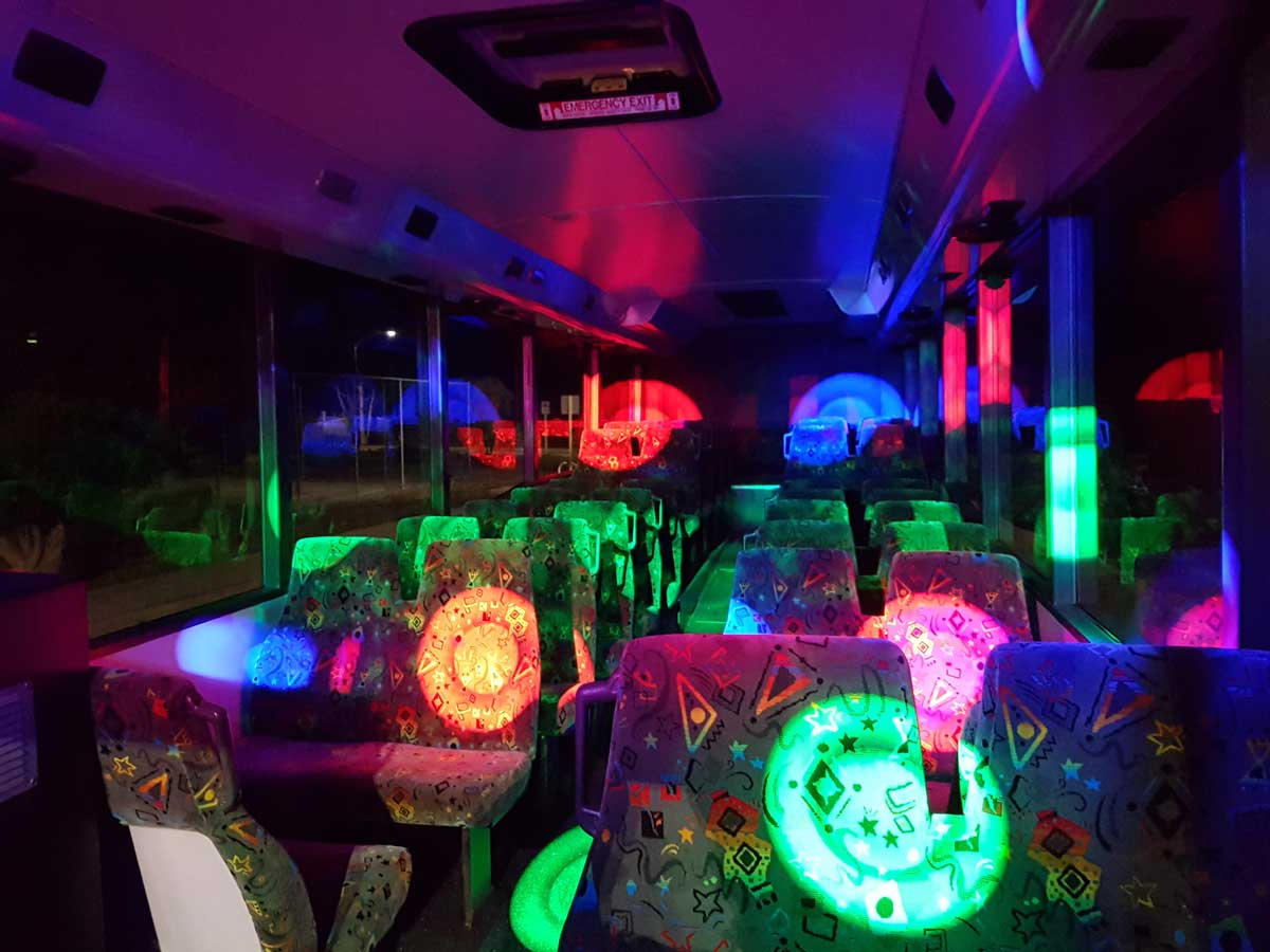 white party bus seating