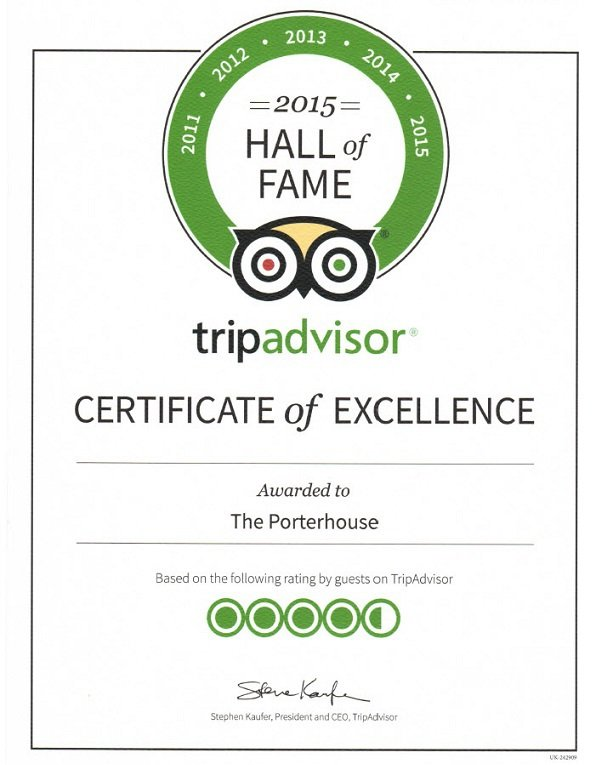 Trip Advisor Certificate Hall of Fame 2015