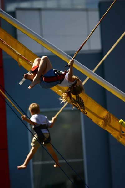 Young kids enjoying in bungy trampoline