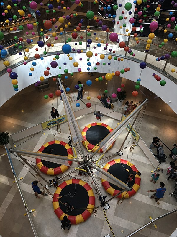 Baby bungee trampoline installed in the mall