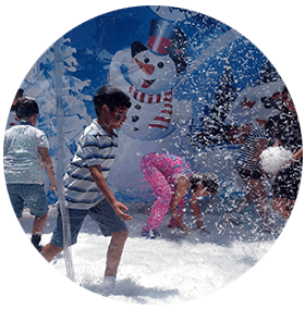 Children playing with snow