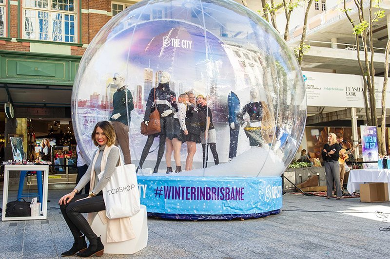 View of an inflatable snow globe