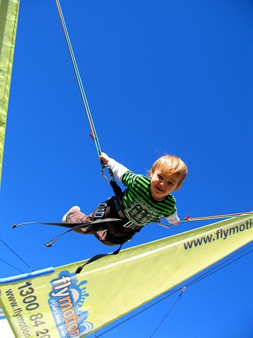 Young kid enjoying in bungy trampoline