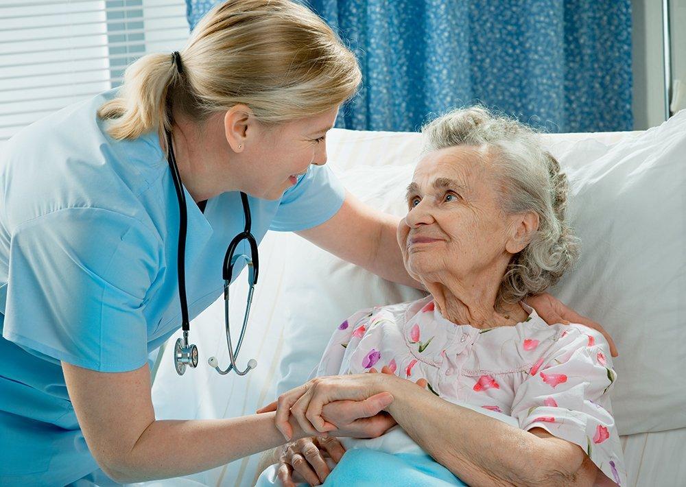 Nurse taking care of the elderly women