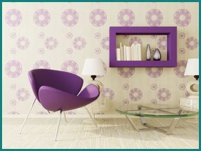 Contemporary room, decorated using minimalistic purple and white colours