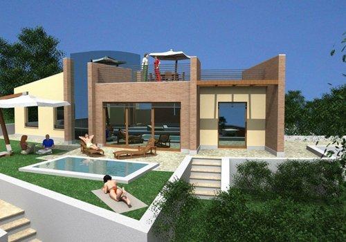 render di villa a sud della Sardegna