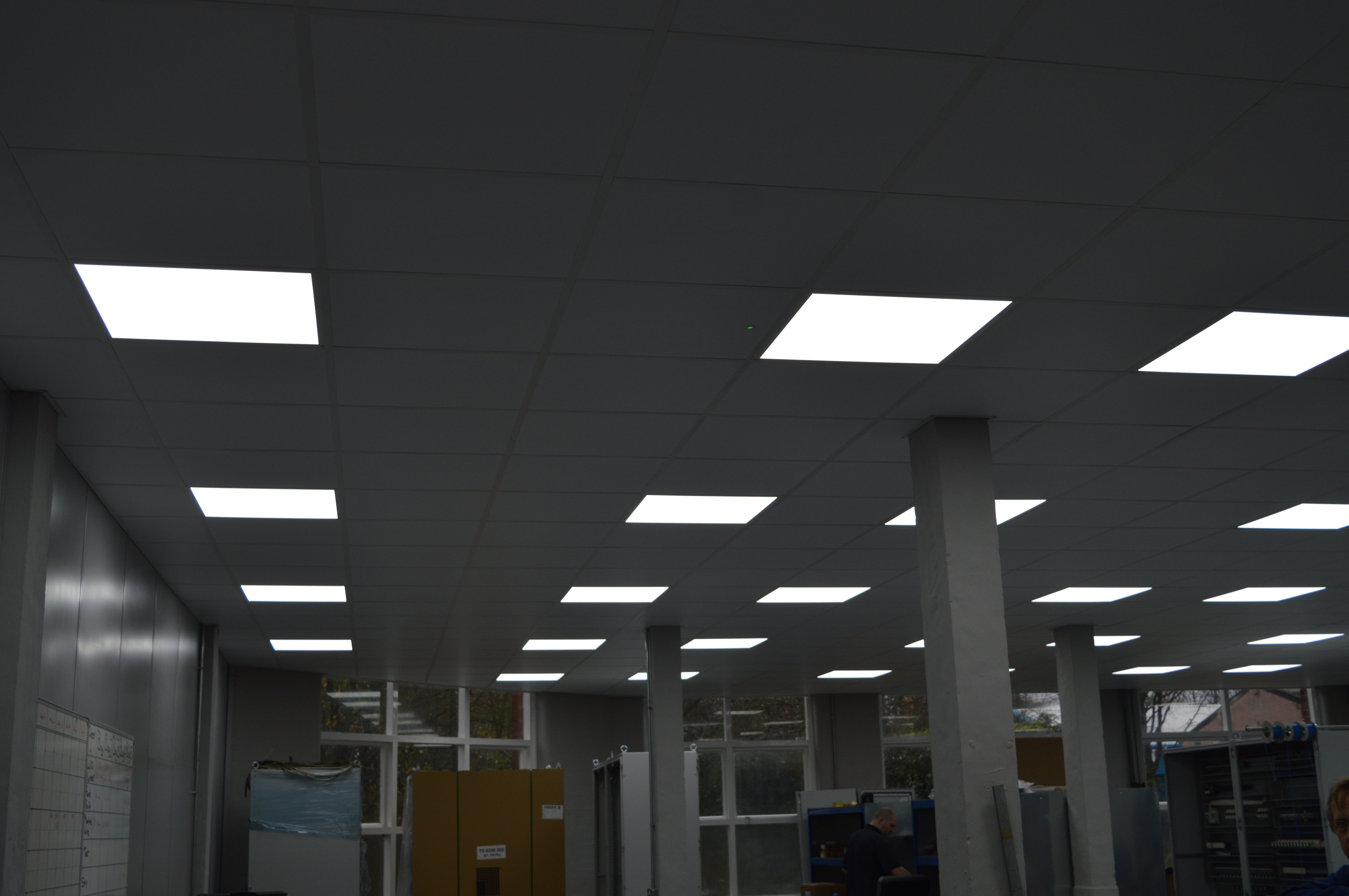 Illuminated square lights in a suspended ceiling