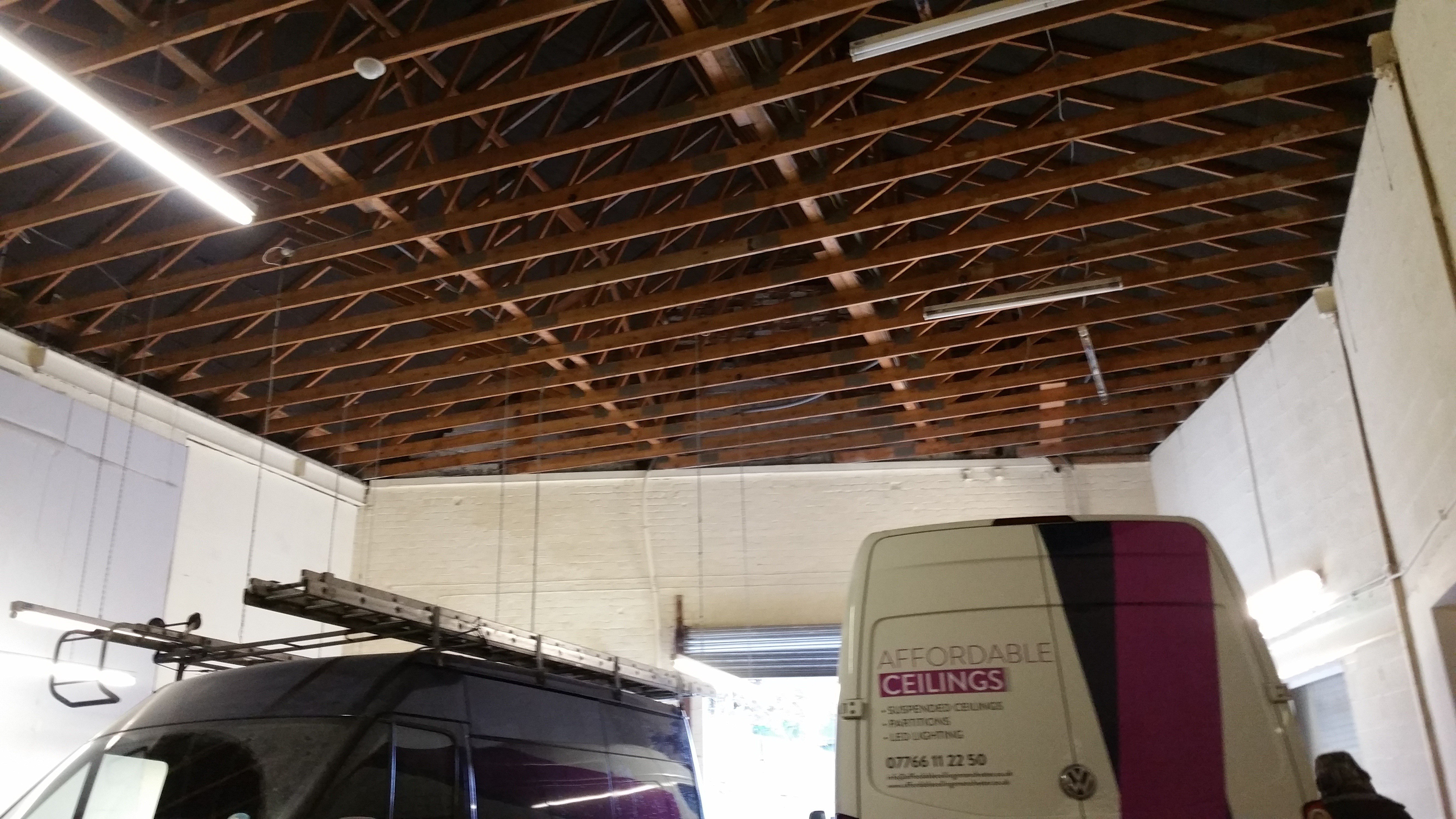 Exposed timber ceiling beams