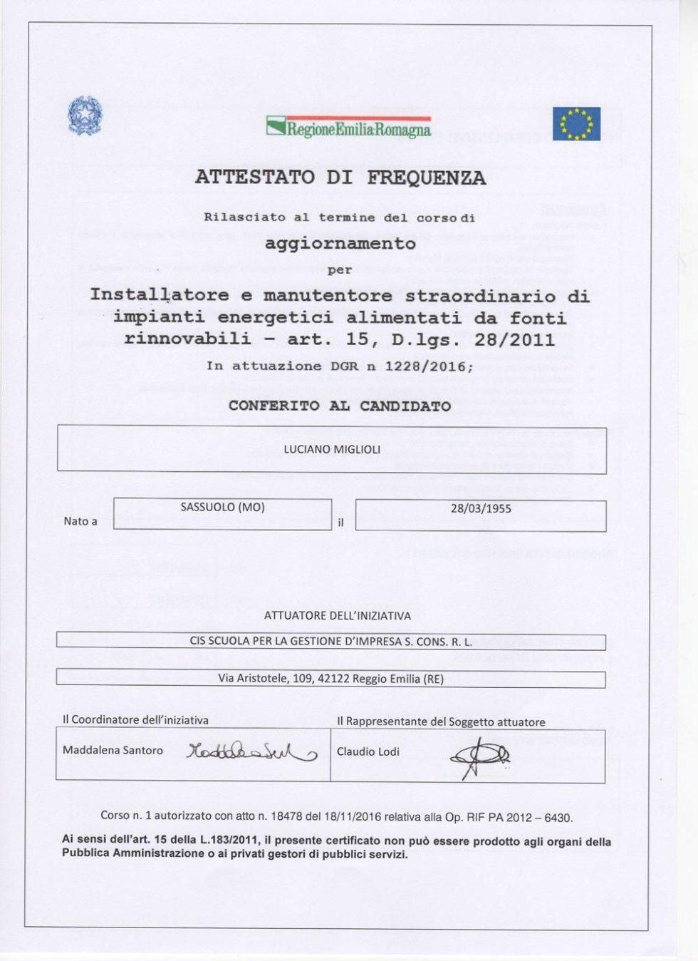 certificato miglioli