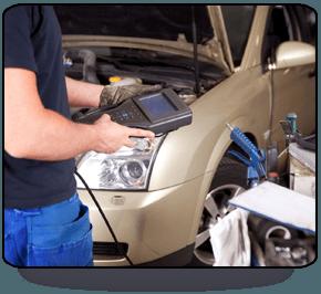 Man servicing car