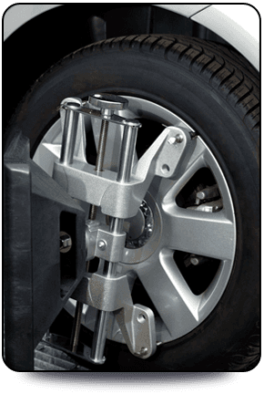 Wheel being aligned.