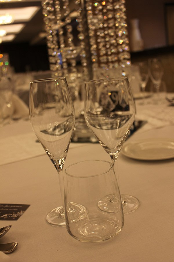 View of champagne glass on table