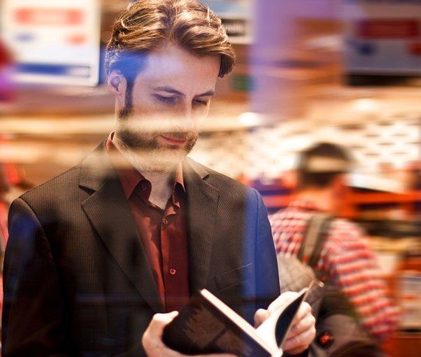 A man browsing a book