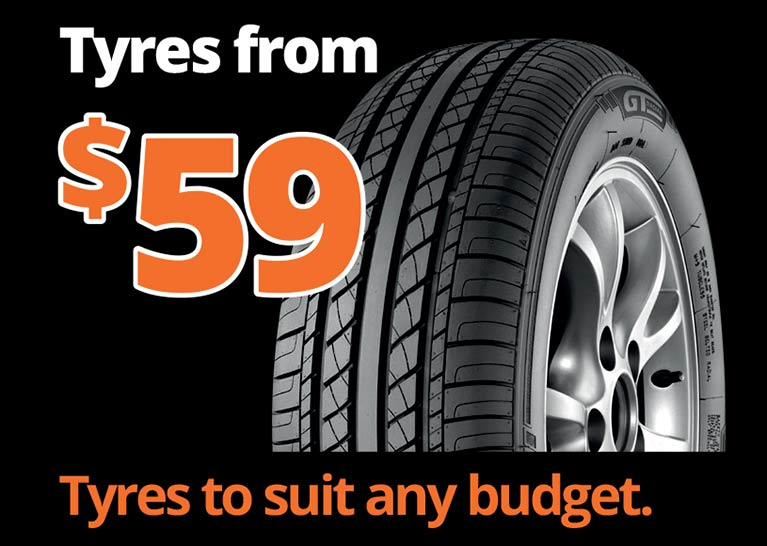 Tyres from 59 dollars